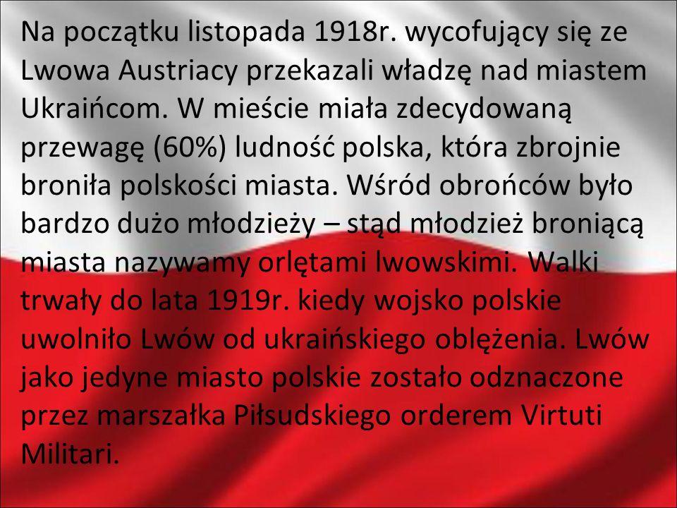 Na początku listopada 1918r. wycofujący się ze Lwowa Austriacy przekazali władzę nad miastem Ukraińcom. W mieście miała zdecydowaną przewagę (60%) lud