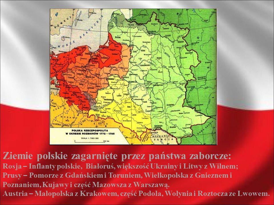 Ziemie polskie zagarnięte przez państwa zaborcze: Rosja – Inflanty polskie, Białoruś, większość Ukrainy i Litwy z Wilnem; Prusy – Pomorze z Gdańskiem