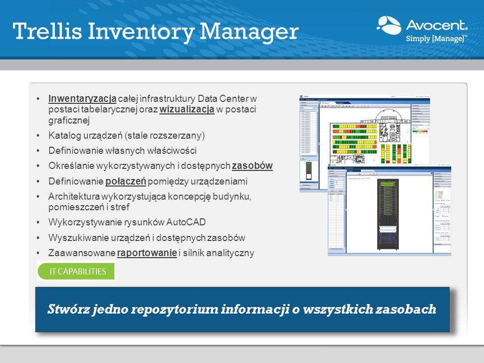 Inwentaryzacja całej infrastruktury Data Center w postaci tabelarycznej oraz wizualizacja w postaci graficznej Katalog urządzeń (stale rozszerzany) Definiowanie własnych właściwości Określanie wykorzystywanych i dostępnych zasobów Definiowanie połączeń pomiędzy urządzeniami Architektura wykorzystująca koncepcję budynku, pomieszczeń i stref Wykorzystywanie rysunków AutoCAD Wyszukiwanie urządzeń i dostępnych zasobów Zaawansowane raportowanie i silnik analityczny Trellis Inventory Manager Stwórz jedno repozytorium informacji o wszystkich zasobach