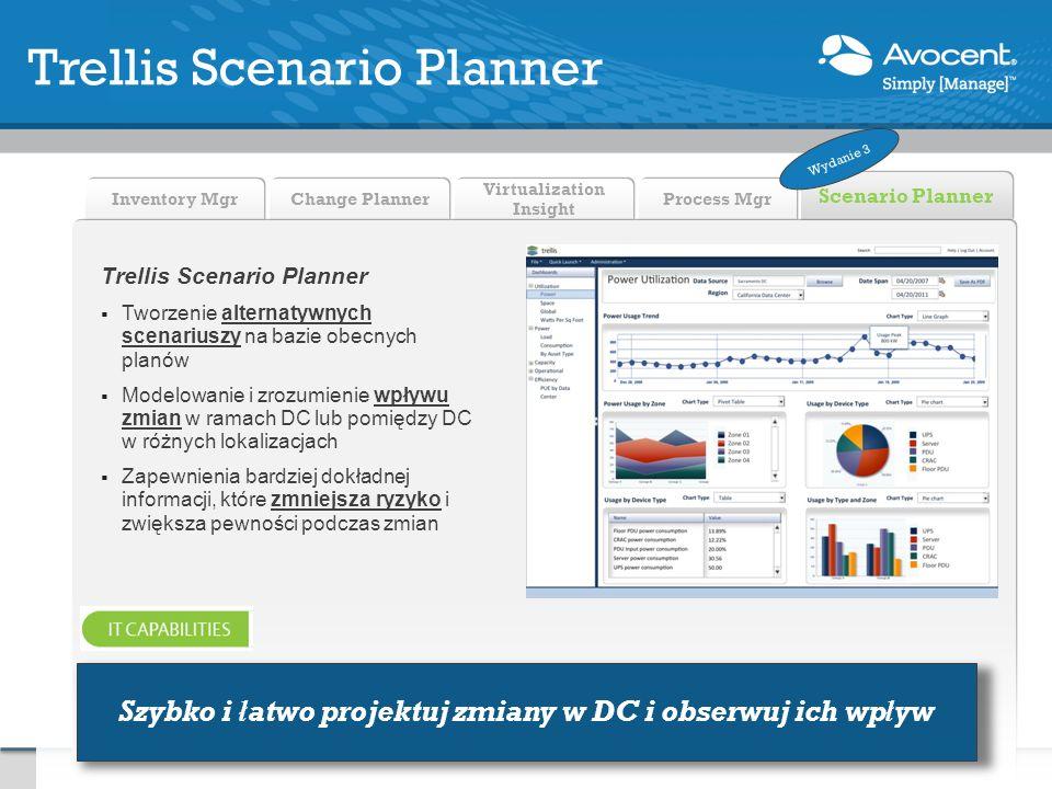 Process Mgr Scenario Planner Virtualization Insight Change Planner Inventory Mgr Trellis Scenario Planner Tworzenie alternatywnych scenariuszy na bazie obecnych planów Modelowanie i zrozumienie wpływu zmian w ramach DC lub pomiędzy DC w różnych lokalizacjach Zapewnienia bardziej dokładnej informacji, które zmniejsza ryzyko i zwiększa pewności podczas zmian Trellis Scenario Planner Szybko i łatwo projektuj zmiany w DC i obserwuj ich wpływ Wydanie 3