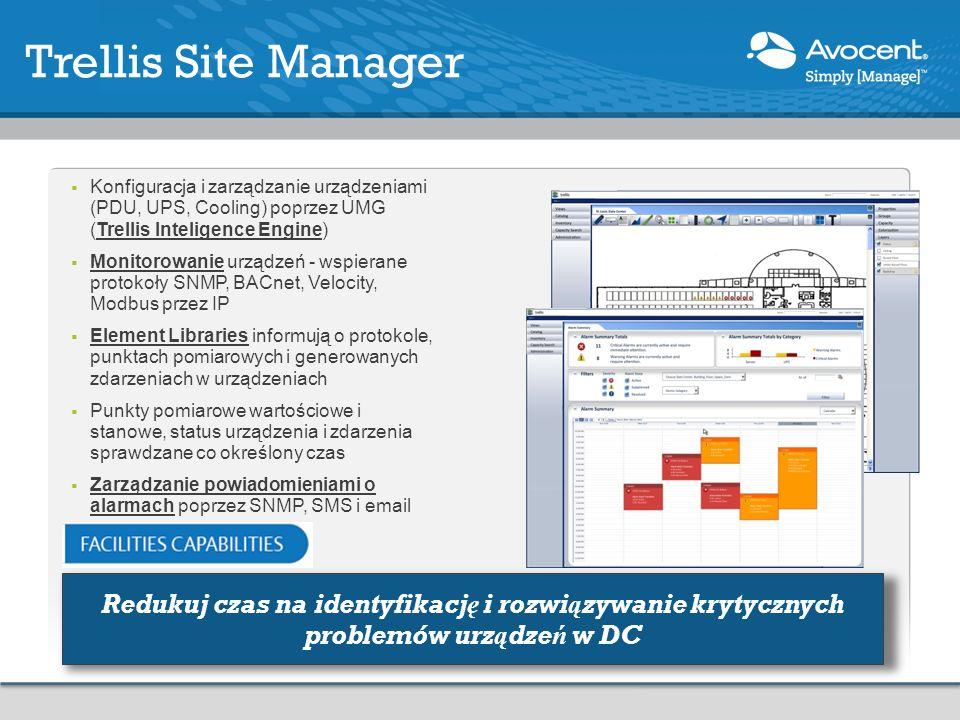 Konfiguracja i zarządzanie urządzeniami (PDU, UPS, Cooling) poprzez UMG (Trellis Inteligence Engine) Monitorowanie urządzeń - wspierane protokoły SNMP, BACnet, Velocity, Modbus przez IP Element Libraries informują o protokole, punktach pomiarowych i generowanych zdarzeniach w urządzeniach Punkty pomiarowe wartościowe i stanowe, status urządzenia i zdarzenia sprawdzane co określony czas Zarządzanie powiadomieniami o alarmach poprzez SNMP, SMS i email Trellis Site Manager Redukuj czas na identyfikację i rozwiązywanie krytycznych problemów urządzeń w DC