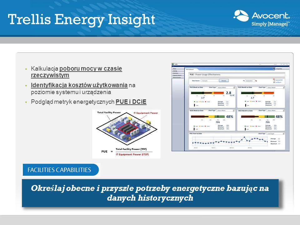 Kalkulacja poboru mocy w czasie rzeczywistym Identyfikacja kosztów użytkowania na poziomie systemu i urządzenia Podgląd metryk energetycznych PUE i DCiE Trellis Energy Insight Określaj obecne i przyszłe potrzeby energetyczne bazując na danych historycznych