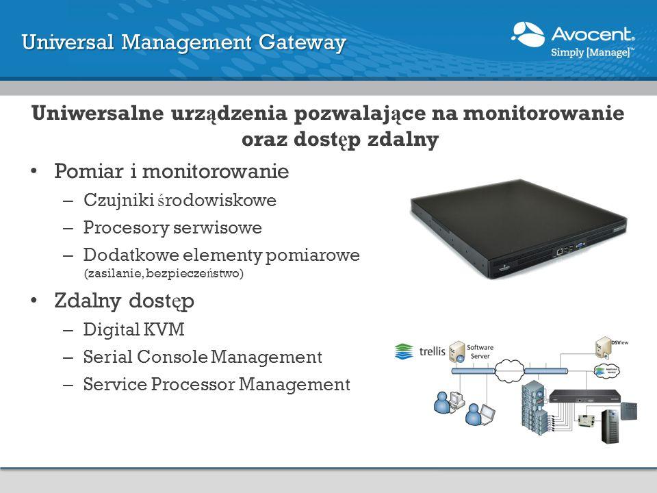 Uniwersalne urz ą dzenia pozwalaj ą ce na monitorowanie oraz dost ę p zdalny Pomiar i monitorowanie – Czujniki ś rodowiskowe – Procesory serwisowe – Dodatkowe elementy pomiarowe (zasilanie, bezpiecze ń stwo) Zdalny dost ę p – Digital KVM – Serial Console Management – Service Processor Management Universal Management Gateway