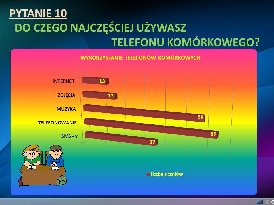 PYTANIE 10 DO CZEGO NAJCZĘŚCIEJ UŻYWASZ TELEFONU KOMÓRKOWEGO?