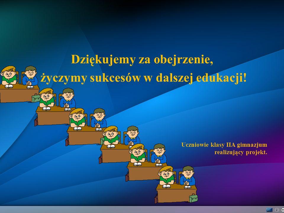 Dziękujemy za obejrzenie, życzymy sukcesów w dalszej edukacji! Uczniowie klasy IIA gimnazjum realizujący projekt.