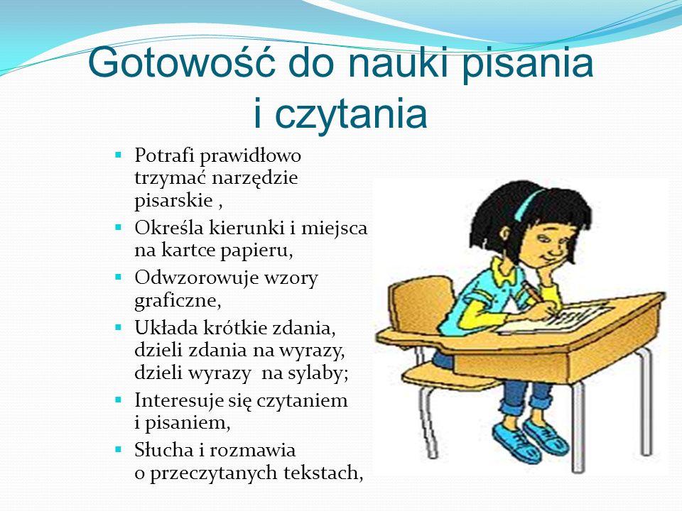 Gotowość do nauki pisania i czytania Potrafi prawidłowo trzymać narzędzie pisarskie, Określa kierunki i miejsca na kartce papieru, Odwzorowuje wzory graficzne, Układa krótkie zdania, dzieli zdania na wyrazy, dzieli wyrazy na sylaby; Interesuje się czytaniem i pisaniem, Słucha i rozmawia o przeczytanych tekstach,