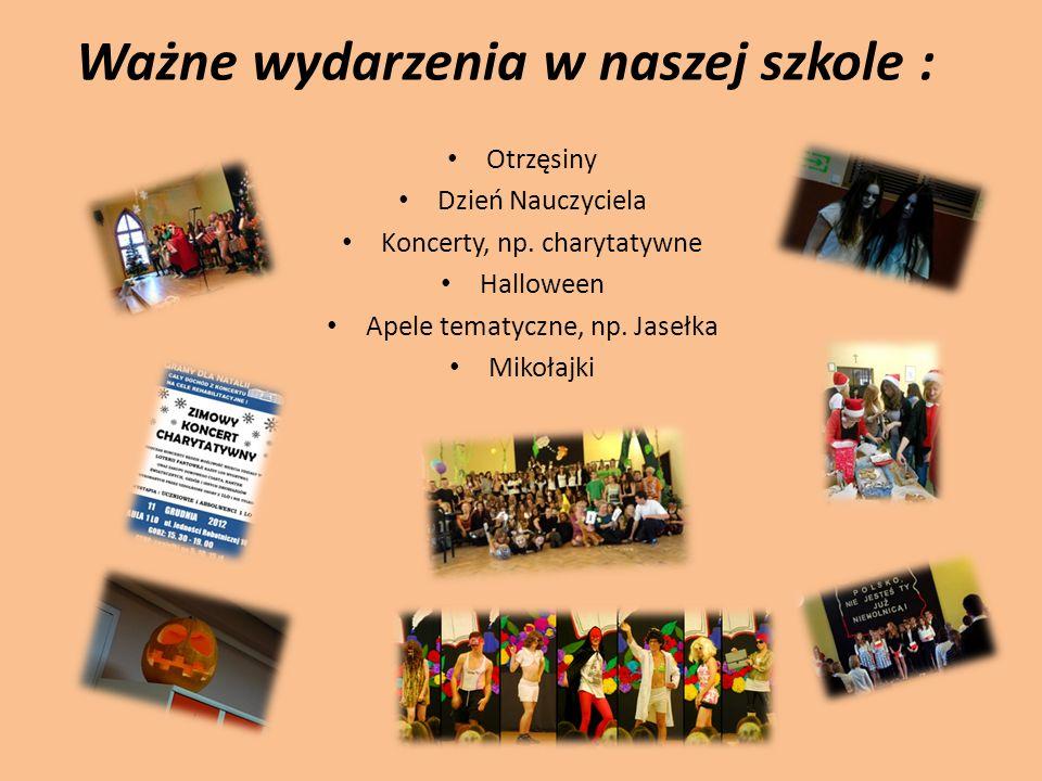 Ważne wydarzenia w naszej szkole : Otrzęsiny Dzień Nauczyciela Koncerty, np. charytatywne Halloween Apele tematyczne, np. Jasełka Mikołajki