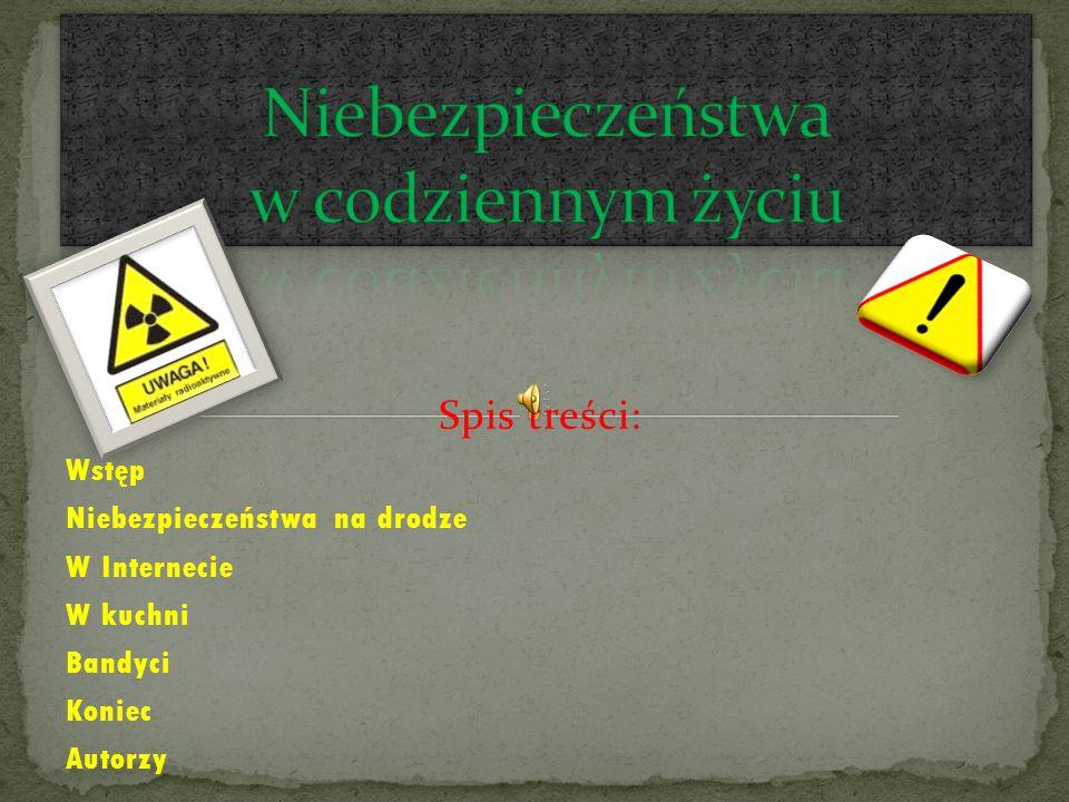 Spis treści: Wstęp Niebezpieczeństwa na drodze W Internecie W kuchni Bandyci Koniec Autorzy