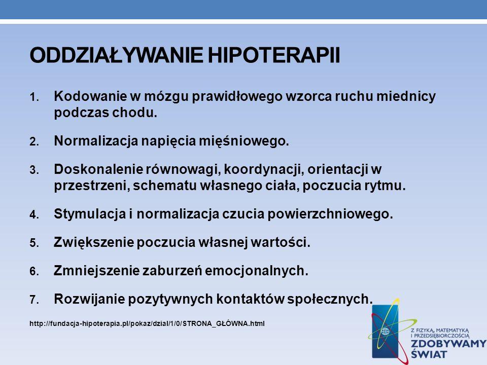 ODDZIAŁYWANIE HIPOTERAPII 1. Kodowanie w mózgu prawidłowego wzorca ruchu miednicy podczas chodu. 2. Normalizacja napięcia mięśniowego. 3. Doskonalenie
