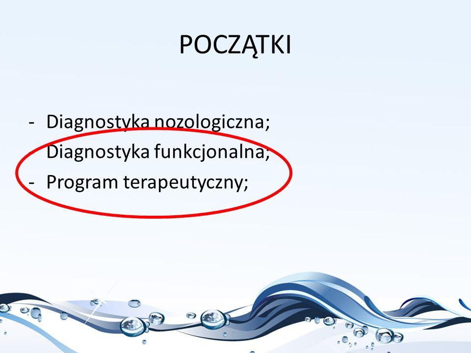 POCZĄTKI -Diagnostyka nozologiczna; -Diagnostyka funkcjonalna; -Program terapeutyczny;
