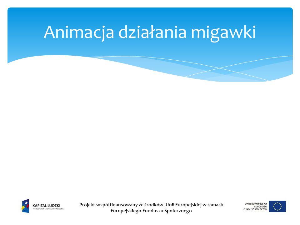 Animacja działania migawki Projekt współfinansowany ze środków Unii Europejskiej w ramach Europejskiego Funduszu Społecznego