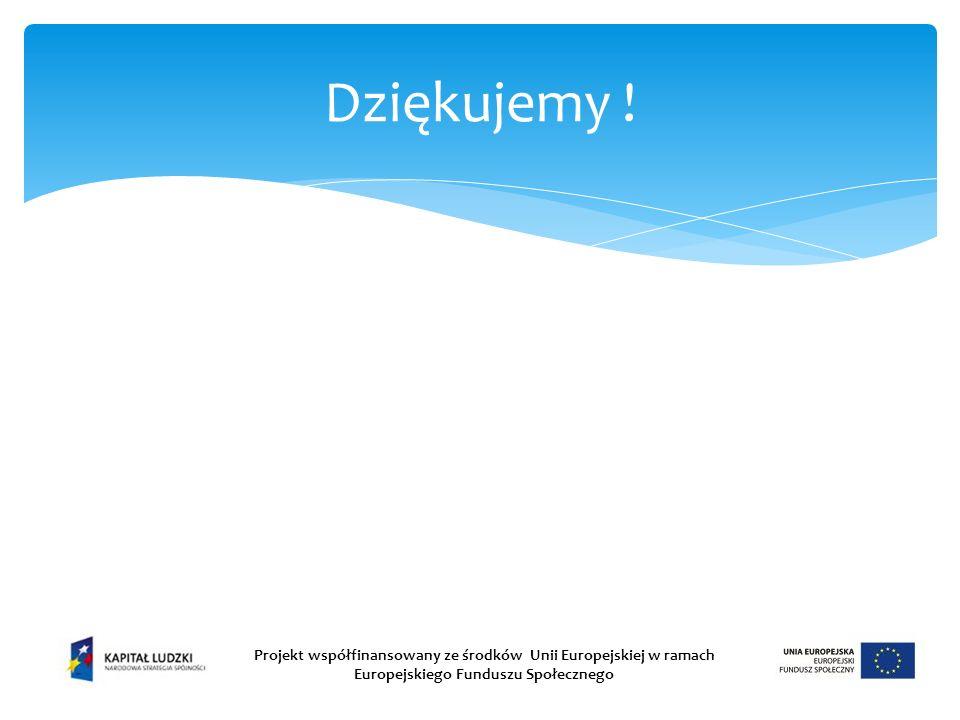 Dziękujemy ! Projekt współfinansowany ze środków Unii Europejskiej w ramach Europejskiego Funduszu Społecznego