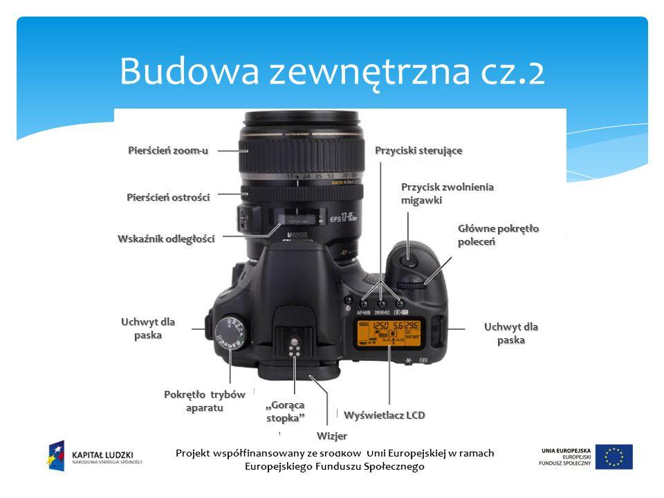 Budowa zewnętrzna cz.2 Projekt współfinansowany ze środków Unii Europejskiej w ramach Europejskiego Funduszu Społecznego Pokrętło trybów aparatu Uchwyt dla paska Gorąca stopka Wizjer Pierścień zoom-u Pierścień ostrości Wskaźnik odległości Przycisk zwolnienia migawki Główne pokrętło poleceń Przyciski sterujące Wyświetlacz LCD