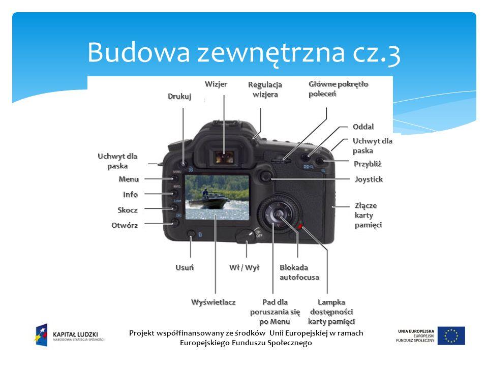 Budowa zewnętrzna cz.3 Projekt współfinansowany ze środków Unii Europejskiej w ramach Europejskiego Funduszu Społecznego Wizjer Uchwyt dla paska Główne pokrętło poleceń Menu Info Skocz Otwórz Wyświetlacz Usuń Wł / Wył Blokada autofocusa Drukuj Regulacja wizjera Oddal Joystick Przybliż Złącze karty pamięci Lampka dostępności karty pamięci Pad dla poruszania się po Menu