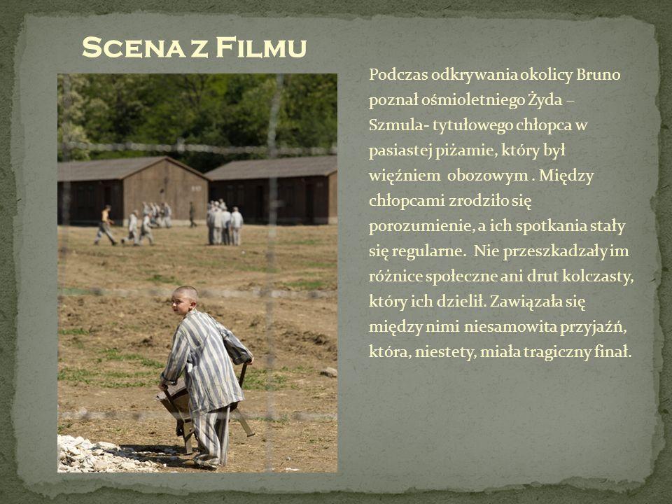 Podczas odkrywania okolicy Bruno poznał ośmioletniego Żyda – Szmula- tytułowego chłopca w pasiastej piżamie, który był więźniem obozowym. Między chłop