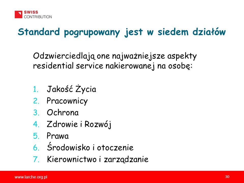 www.larche.org.pl 30 Standard pogrupowany jest w siedem działów Odzwierciedlają one najważniejsze aspekty residential service nakierowanej na osobę: 1.