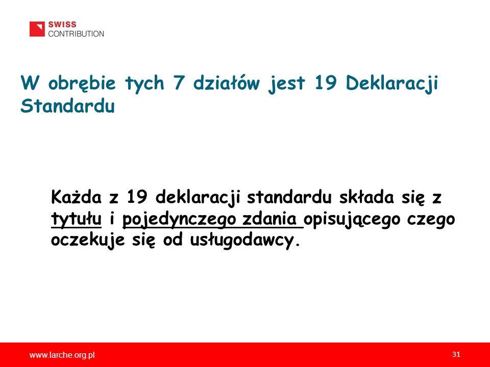 www.larche.org.pl 31 W obrębie tych 7 działów jest 19 Deklaracji Standardu Każda z 19 deklaracji standardu składa się z tytułu i pojedynczego zdania opisującego czego oczekuje się od usługodawcy.