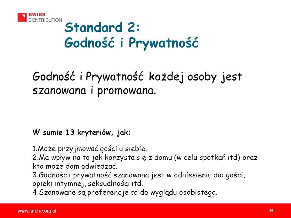 www.larche.org.pl 34 Standard 2: Godność i Prywatność Godność i Prywatność każdej osoby jest szanowana i promowana. W sumie 13 kryteriów, jak: 1.Może