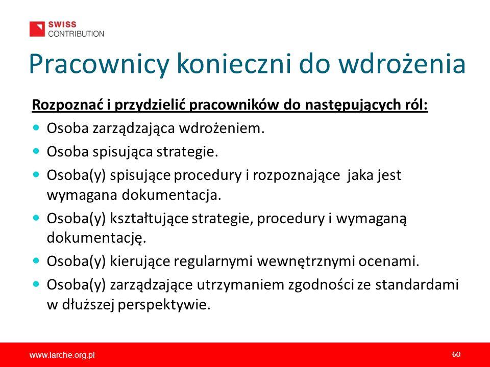 www.larche.org.pl 60 Pracownicy konieczni do wdrożenia Rozpoznać i przydzielić pracowników do następujących ról: Osoba zarządzająca wdrożeniem. Osoba