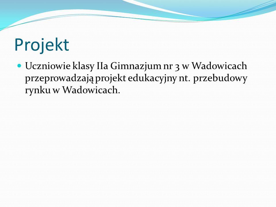 Projekt Uczniowie klasy IIa Gimnazjum nr 3 w Wadowicach przeprowadzają projekt edukacyjny nt. przebudowy rynku w Wadowicach.