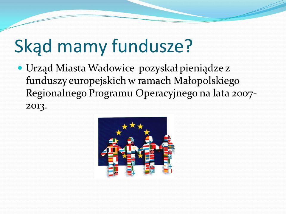 Skąd mamy fundusze? Urząd Miasta Wadowice pozyskał pieniądze z funduszy europejskich w ramach Małopolskiego Regionalnego Programu Operacyjnego na lata