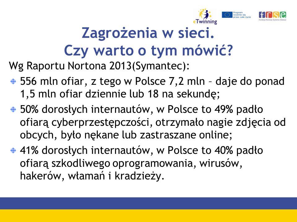 Zagrożenia w sieci. Czy warto o tym mówić? Wg Raportu Nortona 2013(Symantec): 556 mln ofiar, z tego w Polsce 7,2 mln – daje do ponad 1,5 mln ofiar dzi