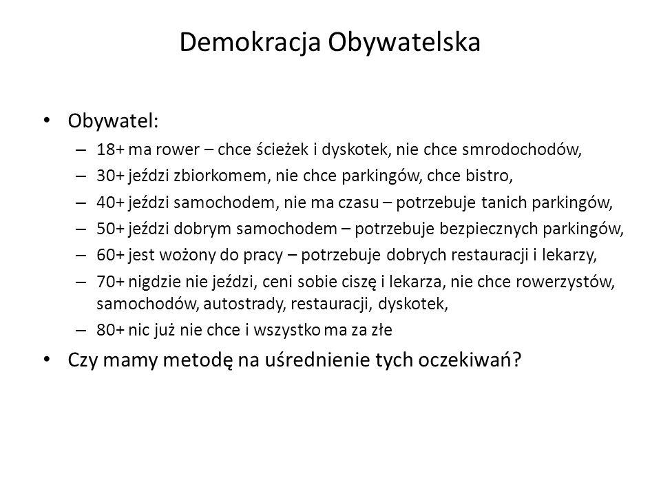 Demokracja Obywatelska Obywatel: – 18+ ma rower – chce ścieżek i dyskotek, nie chce smrodochodów, – 30+ jeździ zbiorkomem, nie chce parkingów, chce bi