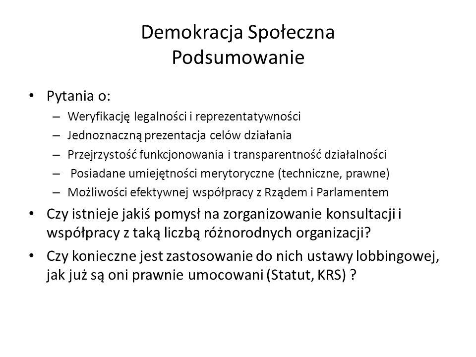 Demokracja Społeczna Podsumowanie Pytania o: – Weryfikację legalności i reprezentatywności – Jednoznaczną prezentacja celów działania – Przejrzystość