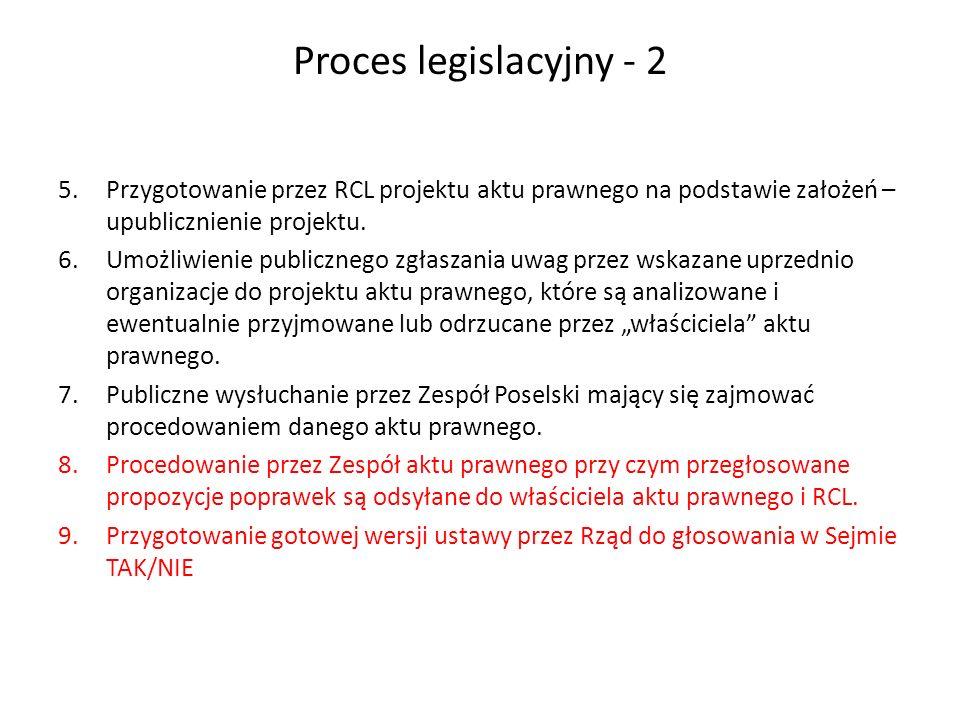Proces legislacyjny - 2 5.Przygotowanie przez RCL projektu aktu prawnego na podstawie założeń – upublicznienie projektu. 6.Umożliwienie publicznego zg