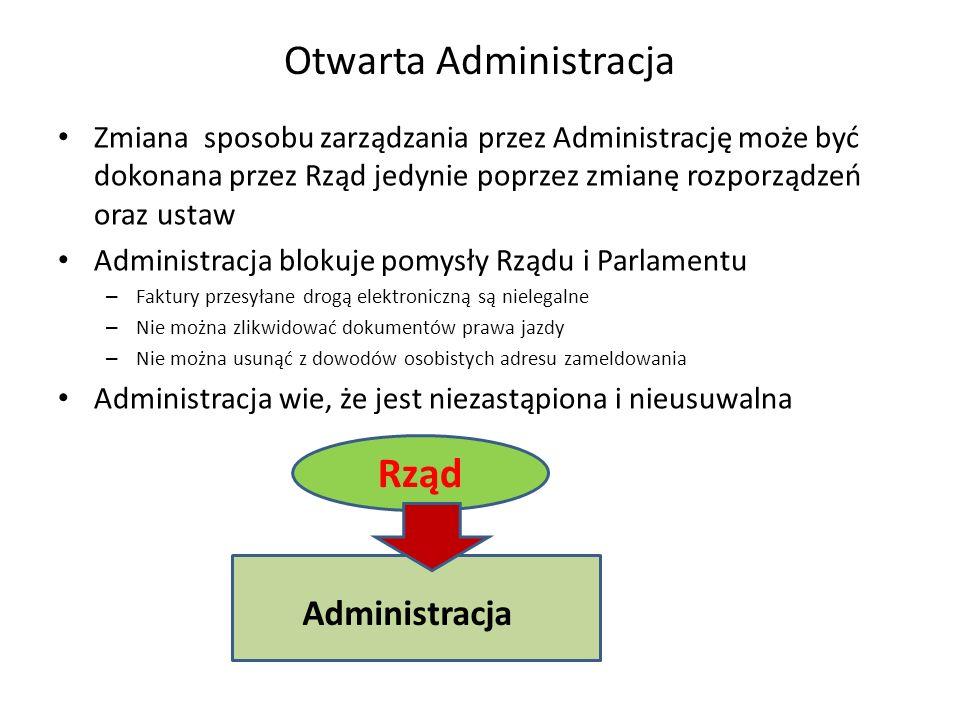 Otwarta Administracja Zmiana sposobu zarządzania przez Administrację może być dokonana przez Rząd jedynie poprzez zmianę rozporządzeń oraz ustaw Administracja blokuje pomysły Rządu i Parlamentu – Faktury przesyłane drogą elektroniczną są nielegalne – Nie można zlikwidować dokumentów prawa jazdy – Nie można usunąć z dowodów osobistych adresu zameldowania Administracja wie, że jest niezastąpiona i nieusuwalna Administracja Rząd WYBORY