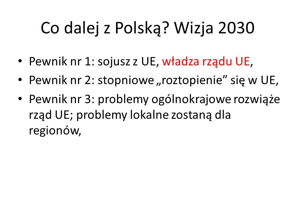 Co dalej z Polską? Wizja 2030 Pewnik nr 1: sojusz z UE, władza rządu UE, Pewnik nr 2: stopniowe roztopienie się w UE, Pewnik nr 3: problemy ogólnokraj