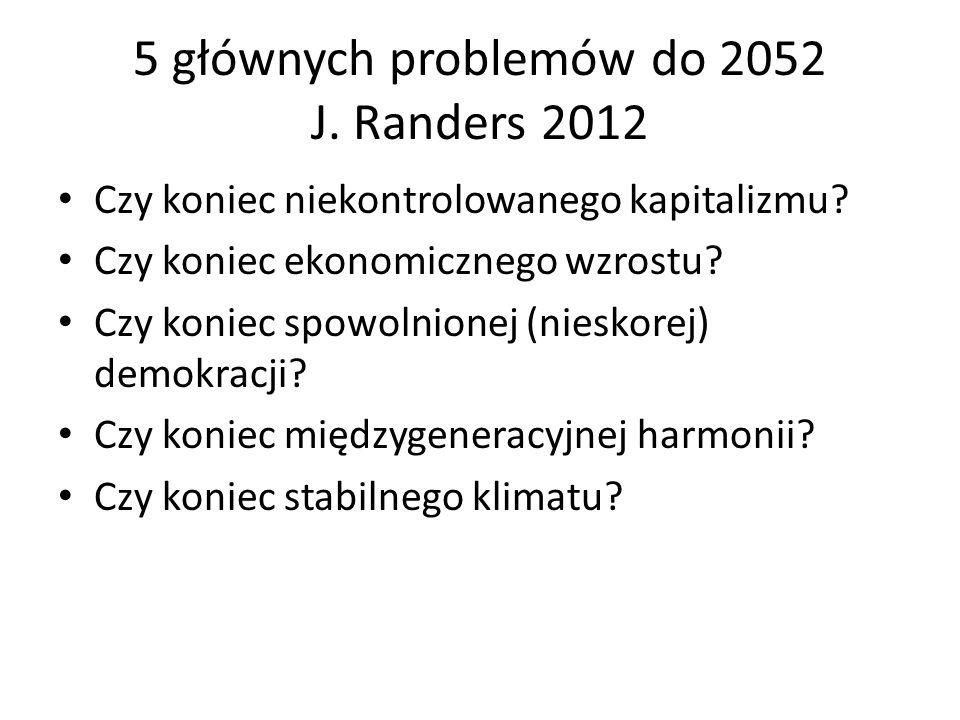 5 głównych problemów do 2052 J. Randers 2012 Czy koniec niekontrolowanego kapitalizmu? Czy koniec ekonomicznego wzrostu? Czy koniec spowolnionej (nies