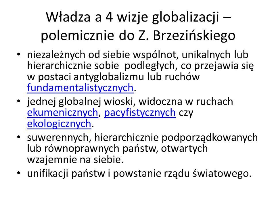 Władza a 4 wizje globalizacji – polemicznie do Z. Brzezińskiego niezależnych od siebie wspólnot, unikalnych lub hierarchicznie sobie podległych, co pr