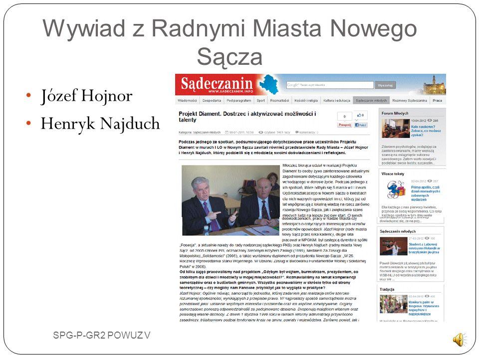 Wywiad z Radnymi Miasta Nowego Sącza Józef Hojnor Henryk Najduch SPG-P-GR2 POWUZ V