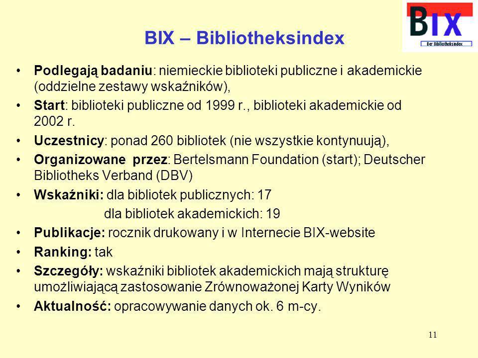 BIX – Bibliotheksindex Podlegają badaniu: niemieckie biblioteki publiczne i akademickie (oddzielne zestawy wskaźników), Start: biblioteki publiczne od