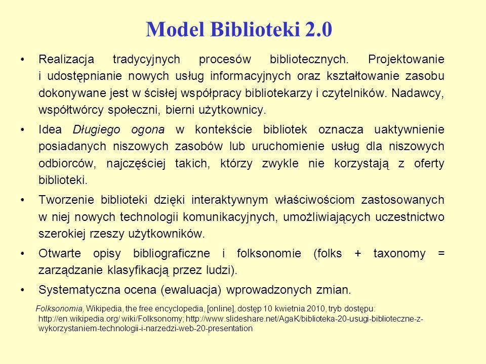 Model Biblioteki 2.0 Realizacja tradycyjnych procesów bibliotecznych. Projektowanie i udostępnianie nowych usług informacyjnych oraz kształtowanie zas