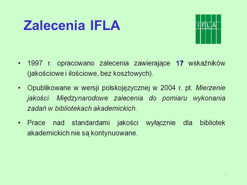 7 171997 r. opracowano zalecenia zawierające 17 wskaźników (jakościowe i ilościowe, bez kosztowych). Opublikowane w wersji polskojęzycznej w 2004 r. p