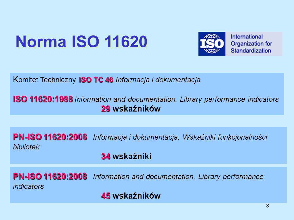8 PN-ISO 11620:2006 PN-ISO 11620:2006 Informacja i dokumentacja. Wskaźniki funkcjonalności bibliotek 34 34 wskaźniki ISO TC 46 K omitet Techniczny ISO