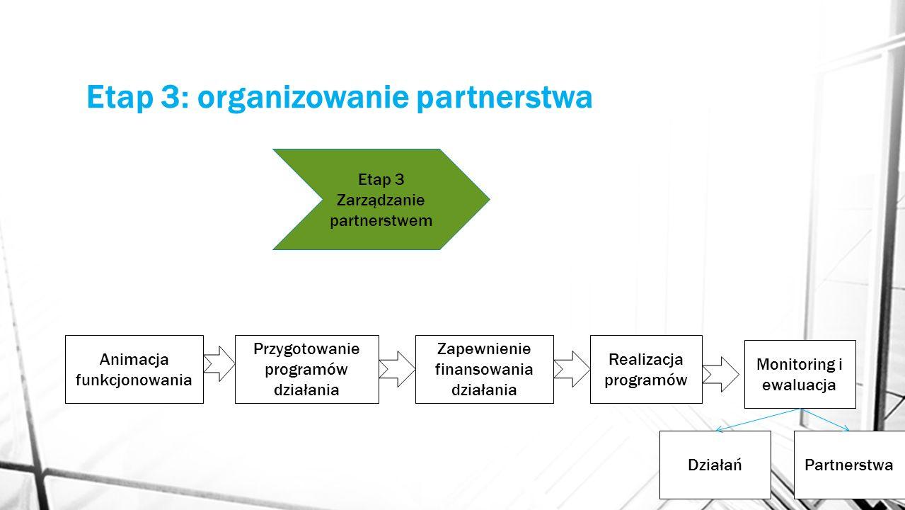 Etap 3: organizowanie partnerstwa Animacja funkcjonowania Przygotowanie programów działania Zapewnienie finansowania działania Etap 3 Zarządzanie part