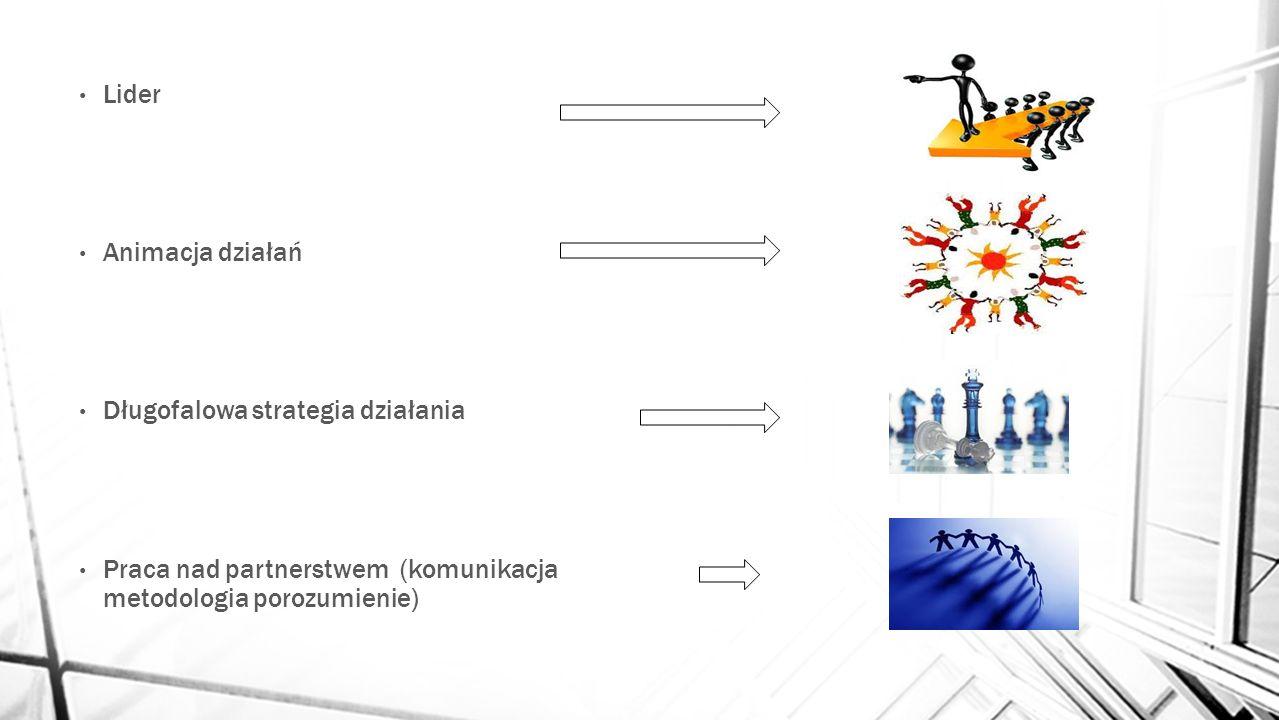 Lider Animacja działań Długofalowa strategia działania Praca nad partnerstwem (komunikacja metodologia porozumienie)