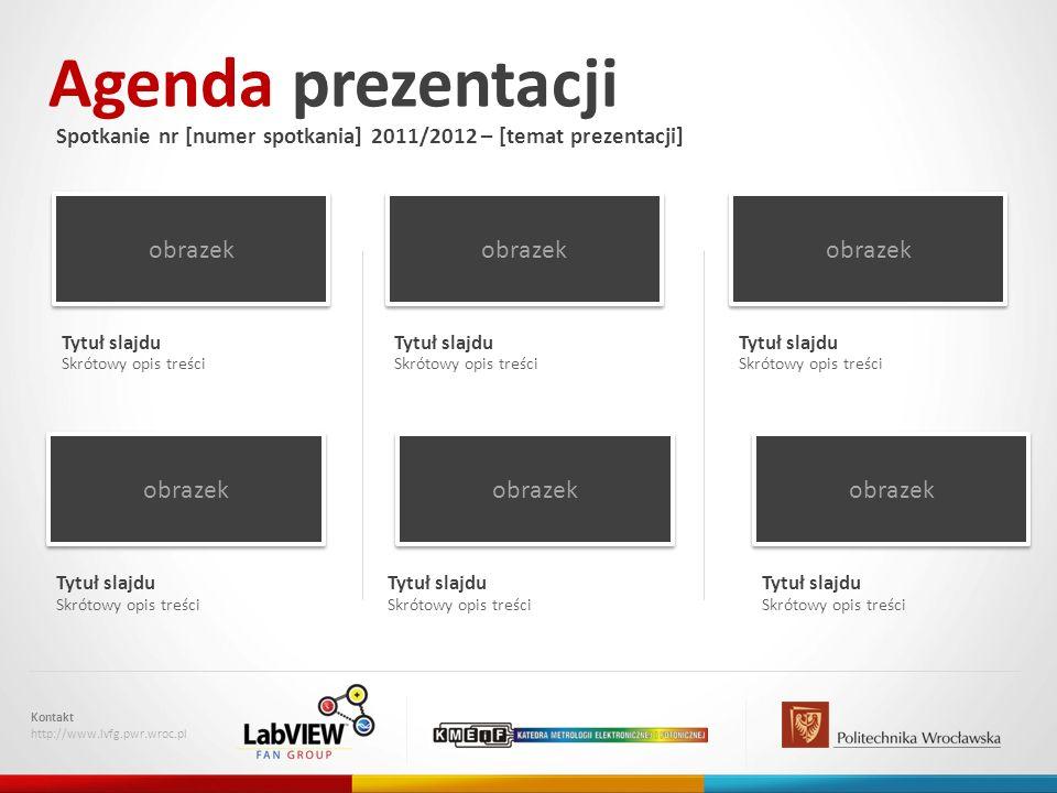 Agenda prezentacji Spotkanie nr [numer spotkania] 2011/2012 – [temat prezentacji] Kontakt http://www.lvfg.pwr.wroc.pl obrazek Skrótowy opis treści Tyt