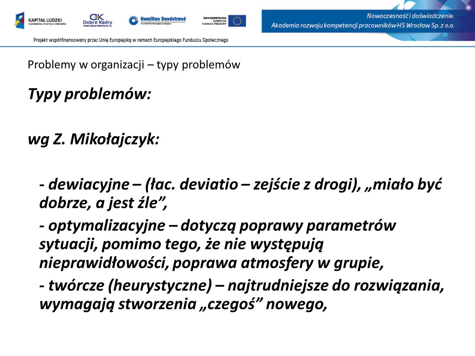 Problemy w organizacji – typy problemów Typy problemów: wg Z.