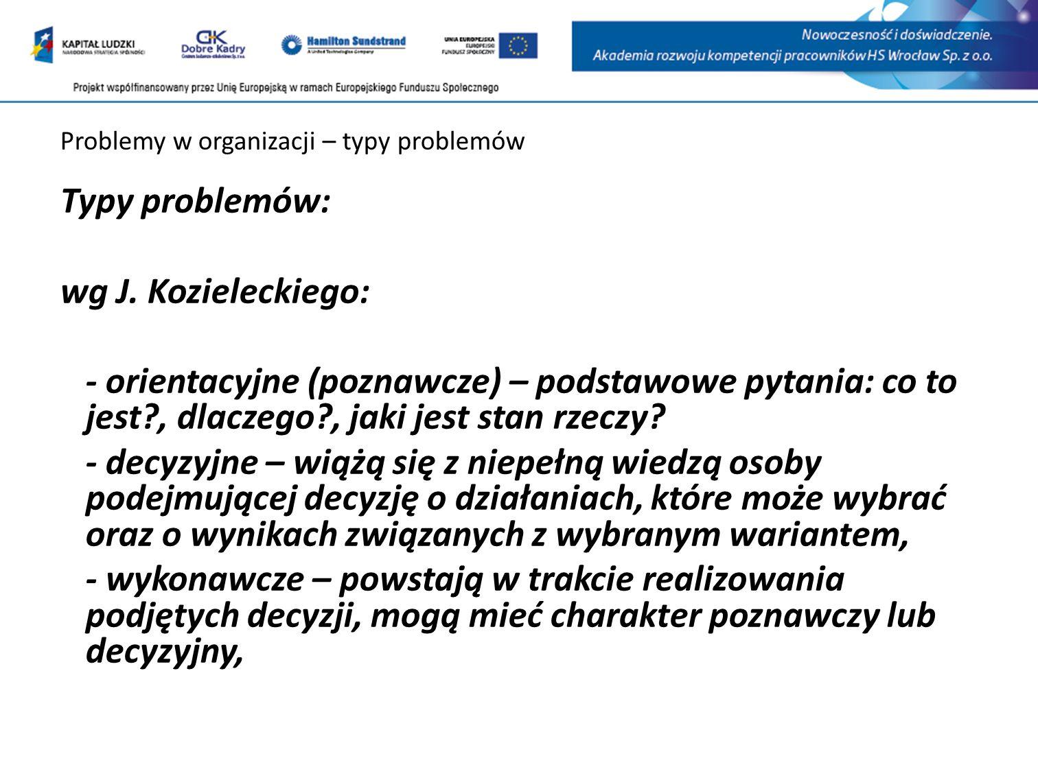 Problemy w organizacji – typy problemów Typy problemów: wg J.