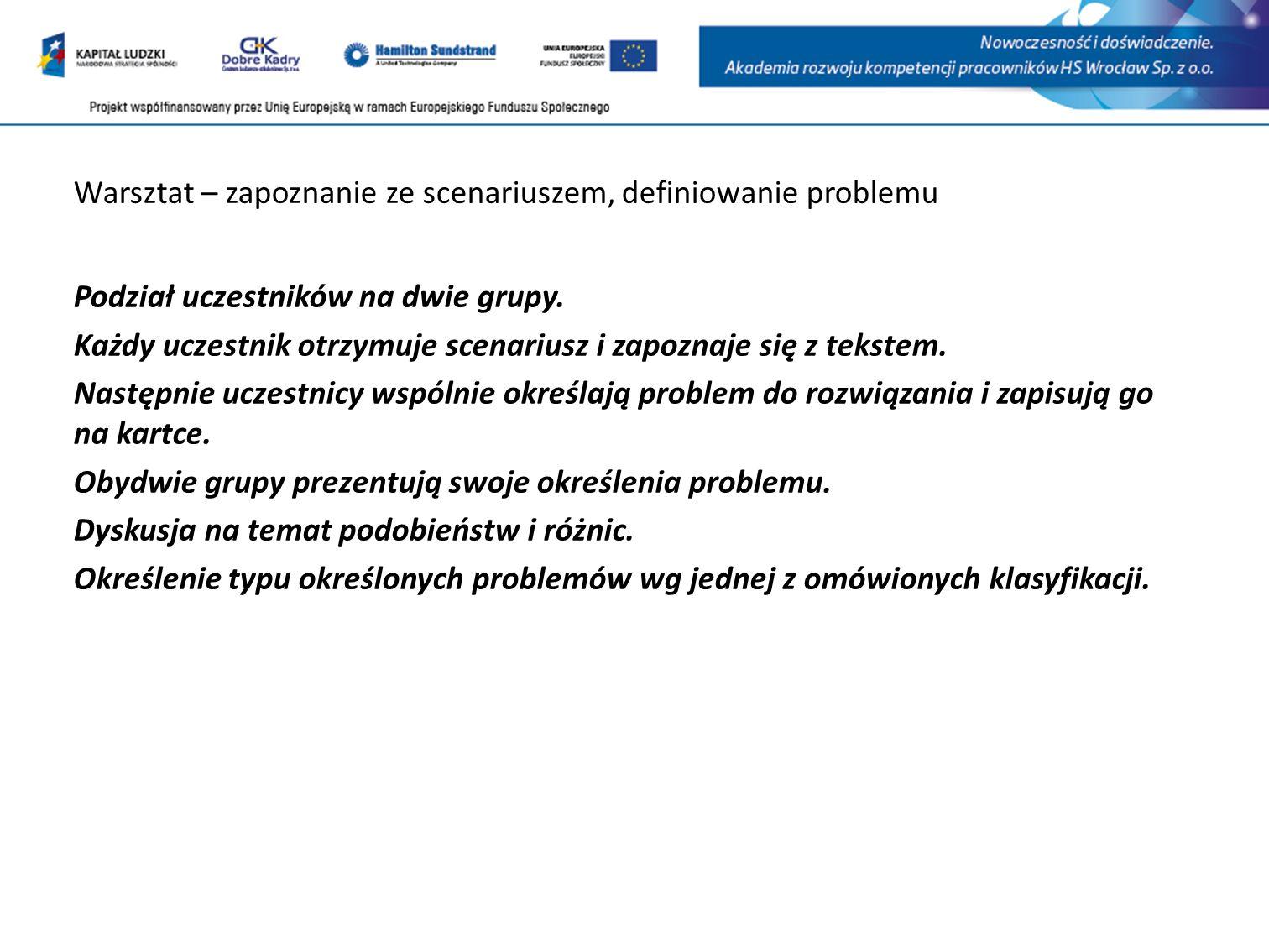 Warsztat – zapoznanie ze scenariuszem, definiowanie problemu Podział uczestników na dwie grupy.