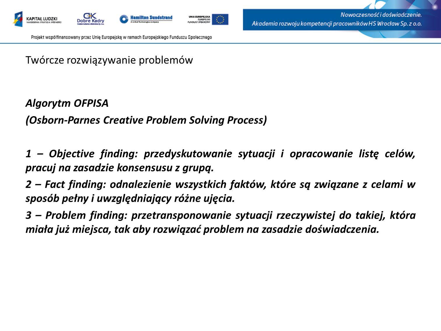 Twórcze rozwiązywanie problemów Algorytm OFPISA (Osborn-Parnes Creative Problem Solving Process) 1 – Objective finding: przedyskutowanie sytuacji i opracowanie listę celów, pracuj na zasadzie konsensusu z grupą.
