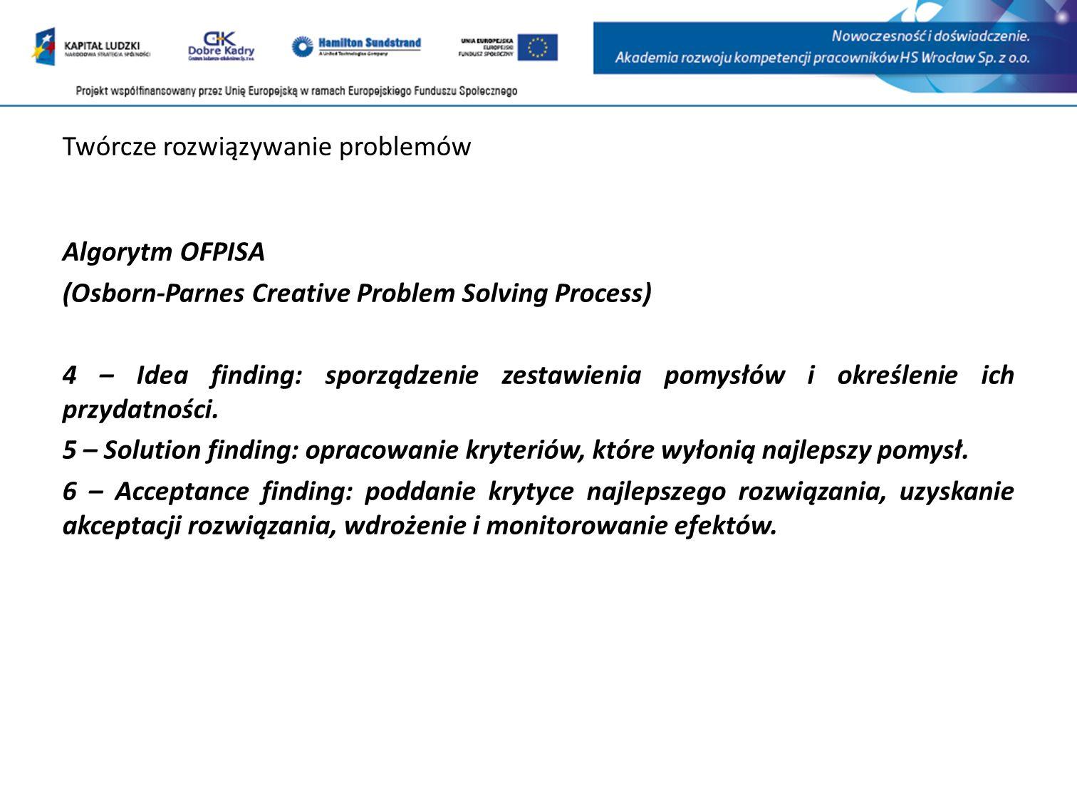 Twórcze rozwiązywanie problemów Algorytm OFPISA (Osborn-Parnes Creative Problem Solving Process) 4 – Idea finding: sporządzenie zestawienia pomysłów i określenie ich przydatności.