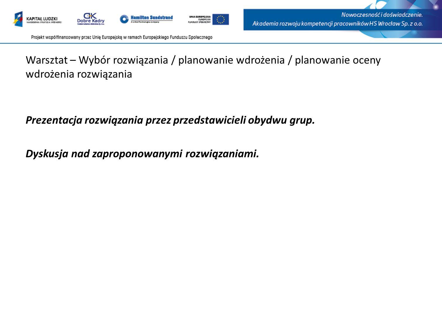Warsztat – Wybór rozwiązania / planowanie wdrożenia / planowanie oceny wdrożenia rozwiązania Prezentacja rozwiązania przez przedstawicieli obydwu grup.