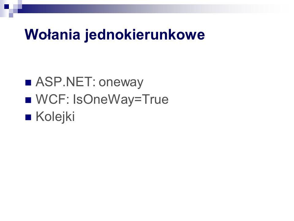 Wołania jednokierunkowe ASP.NET: oneway WCF: IsOneWay=True Kolejki