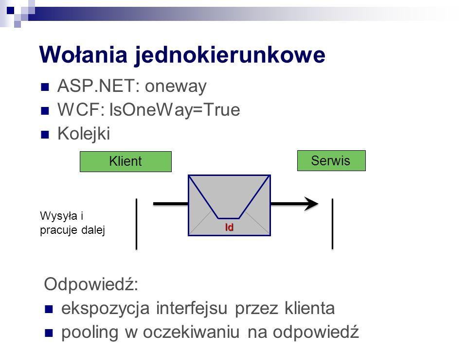 Wołania jednokierunkowe ASP.NET: oneway WCF: IsOneWay=True Kolejki Serwis Klient Id Odpowiedź: ekspozycja interfejsu przez klienta pooling w oczekiwan