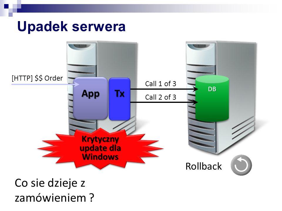 Upadek serwera DBDB AppApp [HTTP] $$ OrderTxTx Call 1 of 3 Call 2 of 3 Krytyczny update dla Windows Rollback Co sie dzieje z zamówieniem ?